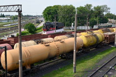 Cargo compositions at railway station. Kazatin, Ukraine. Royalty Free Stock Photography