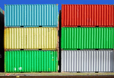 Cargo container. Colourful cargo container in a ship harbour Stock Image