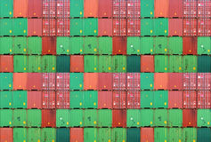 Cargo container. Assembly of colorful cargo container on a transportation site Royalty Free Stock Photography