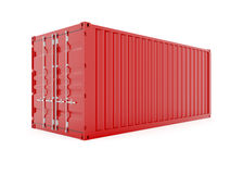Cargo container. 3d render of red cargo container on white Stock Images
