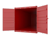 Cargo container. 3d render of red empty cargo container Royalty Free Stock Photography