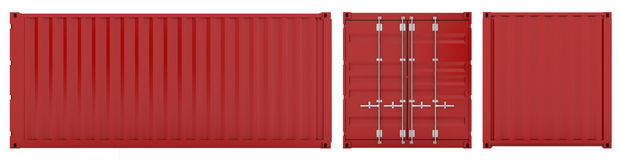 Cargo container. 3d render of red cargo container sides on white Stock Photo