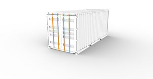 Cargo Container. White Cargo Container with orange locking Stock Images