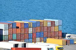 Cargo container. Port cargo container over blue sea background Stock Images