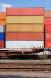 Cargo container. Behind a railroad line Stock Images