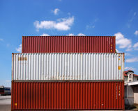 Cargo container. Red and  white cargo container Royalty Free Stock Photography