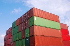 Cargo container. Stack of colorful cargo container Royalty Free Stock Image