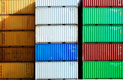 Cargo container. Colorful cargo container in a harbor Stock Image