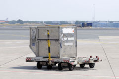 Cargo container at airport. This photograph represent a single cargo container at airport Royalty Free Stock Photography