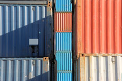Cargo Container Assembly. Stack of red and blue cargo container Royalty Free Stock Photos