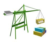 Cargo Container Being Hoisted By A Crane. A Container Crane Lifting A Freight Container from Stack To A Ship, Container Crane Is A Heavy Machine for Loading and Stock Photos