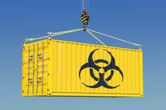 Cargo container with bio-hazard waste concept. 3D rendering. Cargo container with bio-hazard waste concept. 3D Stock Photo