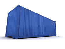 Cargo container blue. Blue cargo container against a white background Royalty Free Stock Photography