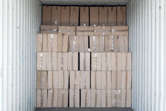 Cargo Container with Boxes Stock Photo