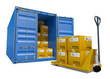 Cargo container with boxes and pallet trolley. Blue opened cargo container with cardboard boxes inside and yellow pallet trolley, isolated on white background Royalty Free Stock Images