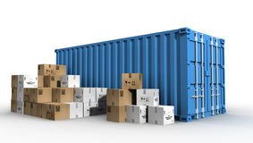 Cargo container and cardboard boxes Royalty Free Stock Photo