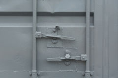 Cargo container. Closed doors detial Stock Photo