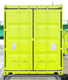 Cargo Container. Closed Doors at Green Cargo Container Royalty Free Stock Photo