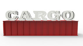 Cargo container concept. 3D illustration of a red cargo container isolated on a white background with the word CARGO placed on top of the container Stock Images