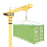 Cargo container delivery with crane isolated Stock Image
