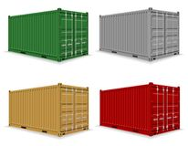 Cargo container for the delivery and transportation of merchandise and goods stock vector illustration. Vector illustration isolated on white background vector illustration