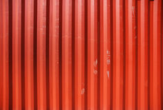 Cargo container detail. Red profiled metal wall of a cargo container Royalty Free Stock Photos