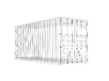 Cargo container, digital wireframe view isolated on white Royalty Free Stock Photography