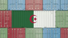 Container with flag of Algeria. Algerian goods related conceptual 3D rendering. Cargo container with flag. goods related conceptual 3D vector illustration