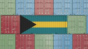 Container with flag of the Bahamas. Bahamian goods related conceptual 3D rendering. Cargo container with flag. goods related conceptual 3D vector illustration
