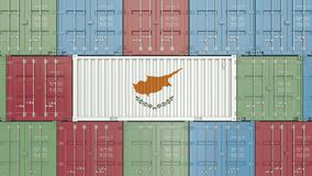 Container with flag of Cyprus. Cypriot goods related conceptual 3D rendering. Cargo container with flag. goods related conceptual 3D vector illustration