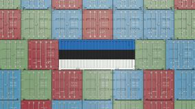 Container with flag of Estonia. Estonian goods related conceptual 3D rendering. Cargo container with flag. goods related conceptual 3D royalty free illustration