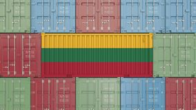 Container with flag of Lithuania. Lithuanian goods related conceptual 3D rendering. Cargo container with flag. goods related conceptual 3D stock illustration