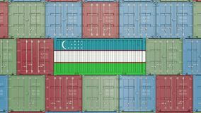 Container with flag of Uzbekistan. Uzbek goods related conceptual 3D rendering. Cargo container with flag. goods related conceptual 3D royalty free illustration