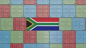 Cargo container with flag of South Africa. SAR import or export related 3D rendering. Cargo container with flag. Import or export related conceptual 3D rendering stock illustration