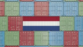 Container with flag of Netherlands. Dutch import or export related 3D animation. Cargo container with flag. Import or export related conceptual 3D rendering stock video