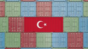 Cargo container with flag of Turkey. Turkish import or export related 3D animation. Cargo container with flag. Import or export related conceptual 3D rendering stock video
