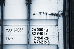 Cargo container fragment with weight marks Stock Photography