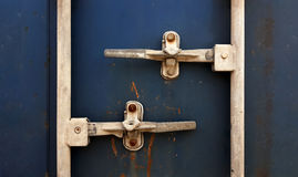 Cargo Container Front. Front view Container. Open Container. Color blue Cargo Container Stock Photo