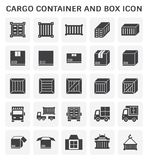 Cargo container icon. Cargo container and box icon set for shipping and transportation work design stock illustration
