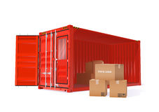 Cargo Container Illustration. Vector Color Realistic Cargo Container With Cardboard Boxes Illustration Royalty Free Stock Photography