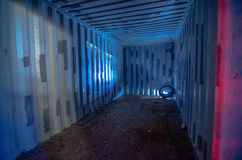 Cargo container interior Old obsolete cargo container with rusty Stock Image