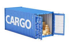 Cargo container with parcels, 3D rendering Royalty Free Stock Images