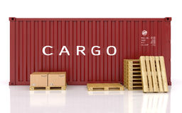 Cargo container and a pile of cardboard boxes Stock Images