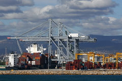 Cargo container at port Stock Image