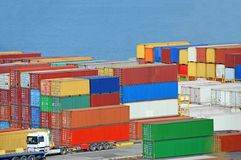 Cargo container in port Stock Image