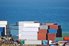 Cargo container. Port cargo container over blue sea background Stock Image