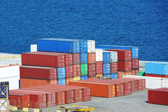Cargo container in port Stock Images