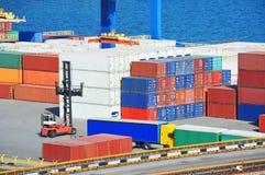 Cargo container in port Stock Photo