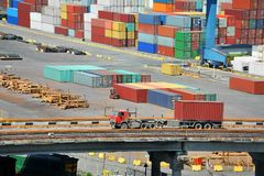 Cargo container in port and truck Royalty Free Stock Photography