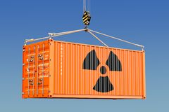 Cargo container with radioactive waste concept. 3D rendering. Cargo container with radioactive waste concept. 3D Stock Photography